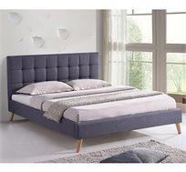 מיטה זוגית בריפוד בד בכל חלקי המיטה ובסיס עץ מלא דגם פריז HOME DECOR