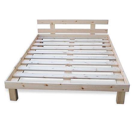 מיטת בסיס זוגית איכותית עם מסגרת מעץ מלא בגוון טבעי וחמש רגליים החל מ-₪449 - תמונה 2