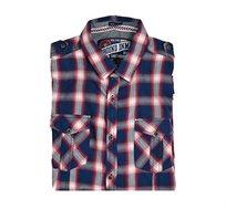 חולצת אריג לגבר E-BOUND שרוול ארוך בצבע כחול לבן אדום