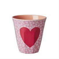 כוס מלמין ורודה עם לב אדום - Rice