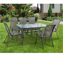 סט פינת אוכל מפואר AUSTRALIA CAMP הכולל  שולחן עם 6 כסאות לגינה דגם Torino