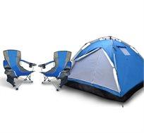אוהל פתיחה מהירה ל-4 אנשים + זוג כיסאות קמפינג מתקפלים