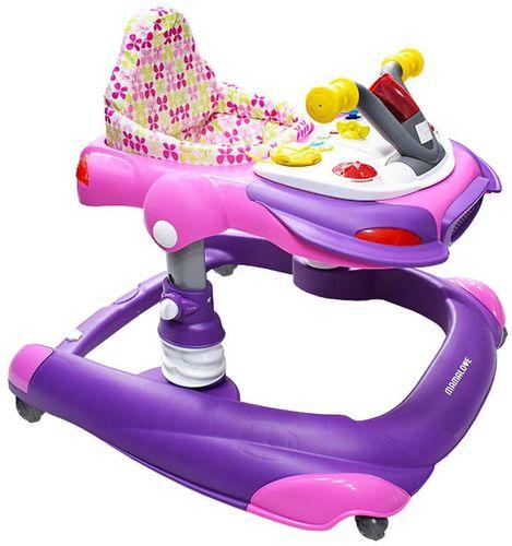 הליכון לתינוק בצורת אופנוע 2 ב 1 אלקטרוני - ורוד/סגול