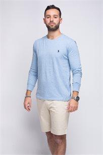 חולצת טישרט תכלת שרוול ארוך צווארון עגול לוגו כחול POLO RALPH LAUREN