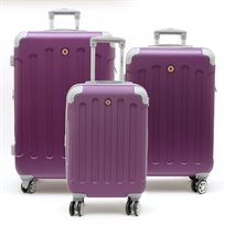 Swiss Travel Club - סט 3 מזוודות 201 קשיחות בצבע סגולאפור
