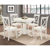 פינת אוכל עגולה נפתחת מעץ מלא משולב כוללת שולחן ו-4 כסאות  מבית HOME DECOR
