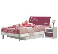 מיטה וחצי איכותית וחזקה בעיצוב חדשני לילדות ונערות כולל שידת מגירות