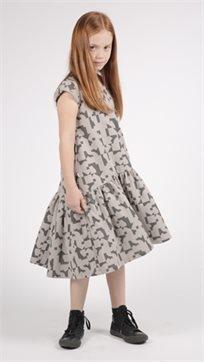 MAYAYA שמלת מתן נמוכה (2-14 שנים) אפור הדפס פאזל