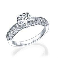 """טבעת יהלומים """"אווה"""" בעיצוב וינטאג' עתיק מזהב צהוב 1.78 קראט"""