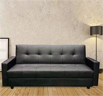 ספה תלת מושבית לאירוח מבד דמוי עור נפתחת בקלות למצב שינה וכוללת ארגז מצעים