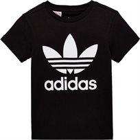 חולצת Adidas לילדים (מידות 8-16 שנים) - שחור לוגו לבן
