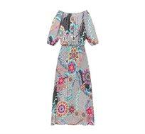 שמלת Desigual DERA עם צווארון סירה ושרוולי 3/4 עם הדפסים גאומטרים פרחוניים