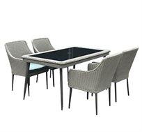 פינת אוכל לגינה או למרפסת הכוללת שולחן וארבעה כסאות דגם פלרמו