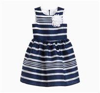 שמלה OVS חגיגית לילדות - כחול ולבן עם פרח בחזה