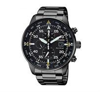 שעון יד כרונוגרף סולארי לגבר CITIZEN עם תצוגה מלאה בצבע שחור