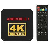 סטרימר ANDROID TV BOX 4K ULTRA גירסה 8.1 Android +שלט כולל מגוון תוכנות ונגני מדיה