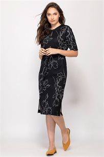 שמלת סריג הדפס קווי בצבע קונטרסטי אול אובר