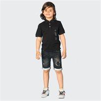 ORO חולצת פולו כיס שחור (7-2 שנים)
