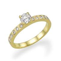 """טבעת אירוסין זהב צהוב """"איימי"""" 0.55 קראט יהלומים"""