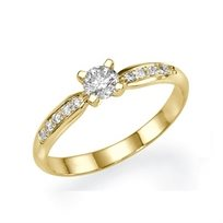 """טבעת אירוסין זהב צהוב """"מליסה"""" 0.35 קראט יהלומים"""