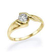 """טבעת אירוסין זהב צהוב """"הלן"""" 0.41 קראט בסגנון מודרני ומעוצב"""
