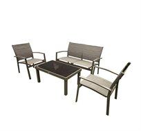 מערכת ישיבה מהודרת לגינה שולחן + ספסל זוגי + 2 כסאות