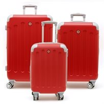 Swiss Travel Club - סט 3 מזוודות 201 קשיחות בצבע אדוםאפור
