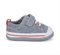 נעלי טרום הליכה וצעד ראשון דגם סטיבי לבנים - אפור ג'רזי