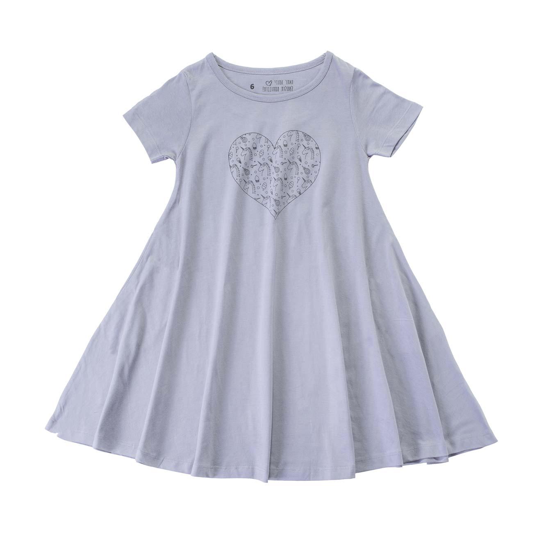 שמלה מסתובבת לב חדי קרן - אפור