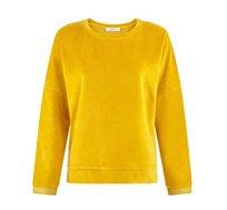 חולצת קטיפה רכה לנשים בצבע צהוב
