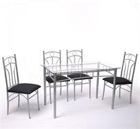 רהיט אלגנטי! סט פינת אוכל הכולל שולחן בעיצוב מודרני ו-4 כסאות בריפוד דמוי עור איכותי