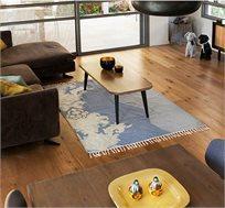 שטיח צמר בעבודת יד תכלת גלים במגוון גדלים לבחירה