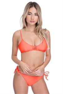טופ ביקיני בייסיק דוגמת איקס Pilpel בצבע תפוז ניאון