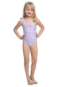 בגד-ים שלם משבצות לילדות Pilpel בצבע סגול