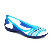Crocs Isabella Huarache Flat - סנדל שטוח לנשים עם רצועות שקופות בצבע כחולטורקיז