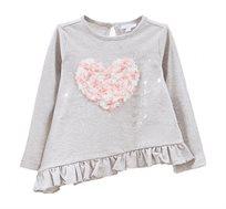 חולצת טישרט ארוכה עם הדפס נוצץ וטלאי בצורת לב לילדות בצבע אפור