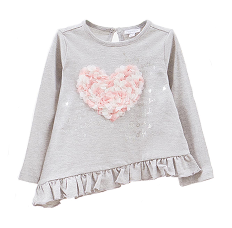 חולצת טישרט OVS ארוכה עם הדפס נוצץ וטלאי בצורת לב לילדות בצבע אפור