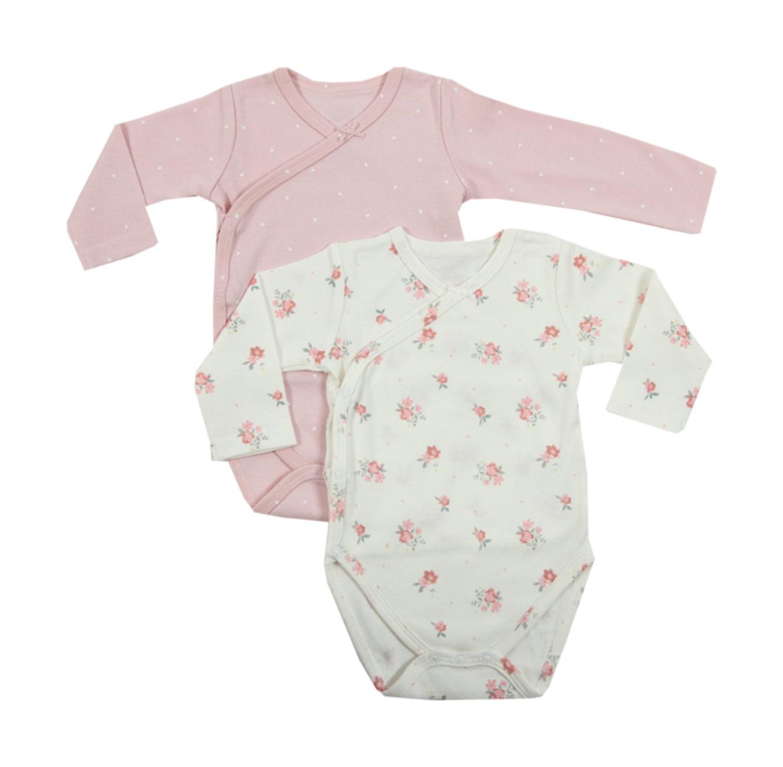 זוג בגדי גוף לתינוקות - שמנת מודפס