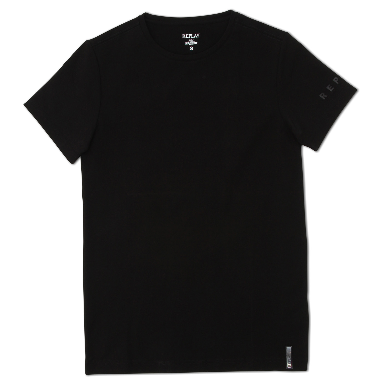 Replay גברים// Crew Neck T Shirt Black