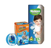 מארז 3 חבילות Huggies Freedom Dry וחבילת Huggies Little Swimmers כולל כדור ים דורי מתנה