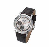 שעון יד לגבר מבית ADI בעיצוב אלגנטי ויוקרתי, עשוי פלדת אל חלד עם רצועת עור אמיתי ועמיד במים עד 50M