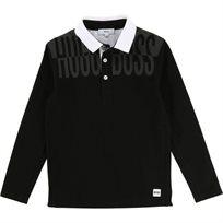BOSS בוס (16-8 שנים) חולצת פולו כיתוב מוטבע - שחור