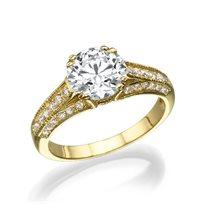 """טבעת יהלומים זהב צהוב """"יסמין"""" 2.01 קראט"""