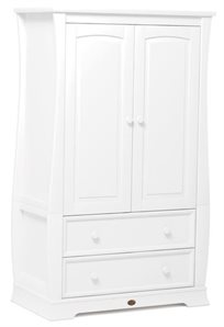 ארון 2 דלתות לחדר ילדים מעוצב Sleigh מעץ מלא - לבן