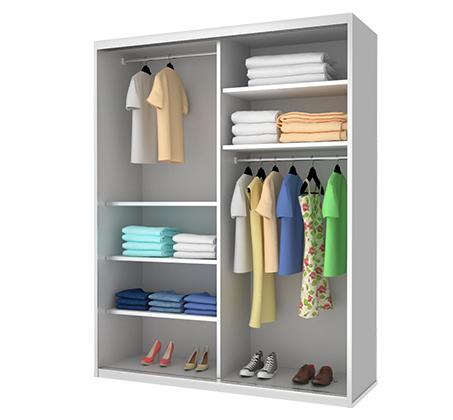 ארון 2 דלתות הזזה מלמין בעל מדפי אחסון ומוטות תלייה דגם TC כרמל ארונות במבחר צבעים וגדלים - תמונה 2