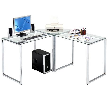 שולחן למשרד פינתי עשוי זכוכית מחוסמת ורגלי ניקל דגם קלגרי