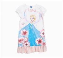 שמלה OVS לילדות - לבן עם הדפס של פרוזן