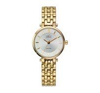 שעון יד מוזהב קטן ועדין לנשים עם זכוכית ספיר