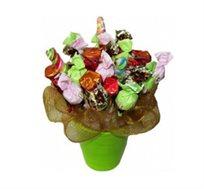 משאלות מתוקות - זר שוקולד המורכב מפרלינים וסוכריות ספירלה צבעוניות ומתוקות
