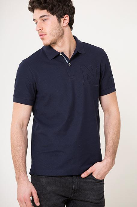 חולצת פולו עם לוגו לגברים - כחול כהה
